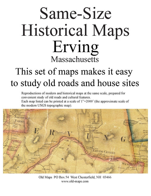 Set of 12 same size Historical Maps - Erving MA Old Map