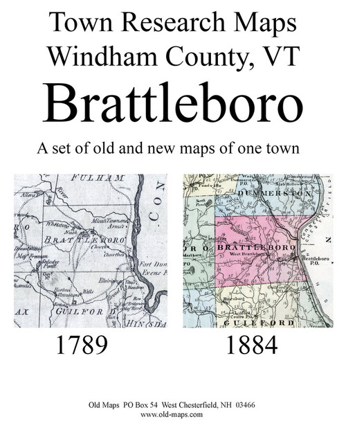 Set of 27 Historical and Modern Maps - Brattleboro VT Old Map