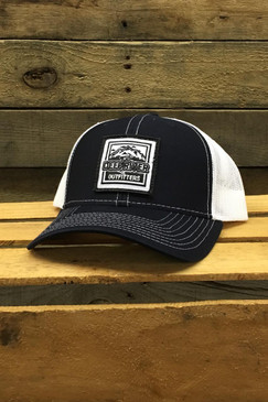 Deep River Square Patch on navy with white mesh Richardson Hat with cotton polyester front panels and visor, with nylon mesh back panels.