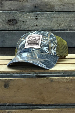 Deep River Leather Square Patch on Realtree Max5 Camo with buck mesh Richardson Hat with cotton polyester front panels and visor, with nylon mesh back panels.