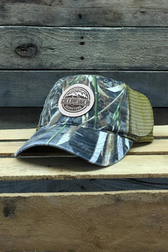Deep River Leather Round Patch on Realtree Max5 Camo with buck mesh Richardson Hat with cotton polyester front panels and visor, with nylon mesh back panels.