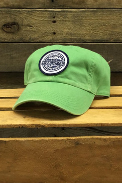 Navy blue and white embroidered Deep River Round Patch on solid lime heavy weight chino twill Richardson hat with garment washing; relaxed contoured crown shape.