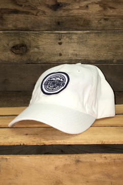 Navy blue and white embroidered Deep River Round Patch on solid white heavy weight chino twill Richardson hat with garment washing; relaxed contoured crown shape.