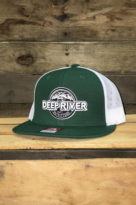 Deep River Pro Wool Dark Green front and white nylon mesh back Richardson Flat Bill with wool blend, Hi-Pro shape with buckram fused front panels.