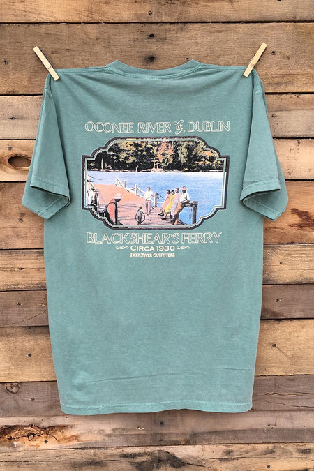 Oconee River at Dublin Georgia short sleeve pocket tee in Comfort Color Light Green.