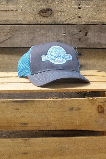 Deep River Trucker in charcoal with neon blue mesh.