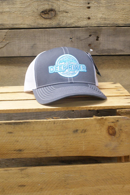 Deep River Trucker in charcoal with neon blue mesh & neon blue Deep River Outfitters logo.