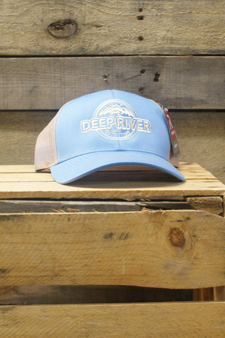 Deep River Trucker in Columbia Blue with khaki mesh.