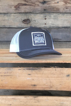 Deep River Square Patch on charcoal with white mesh Richardson Hat with cotton polyester front panels and visor, with nylon mesh back panels.