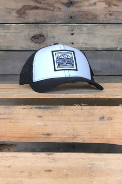 Deep River Square Patch on white with black mesh Richardson Hat with cotton polyester front panels and visor, with nylon mesh back panels.