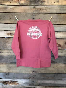 Deep River YOUTH Logo long sleeve tee in Comfort Colors Cumin.