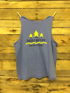 Deep River Outfitters Trees & Streams Tank printed on the best quality Comfort Colors tank top in Mystic Blue.