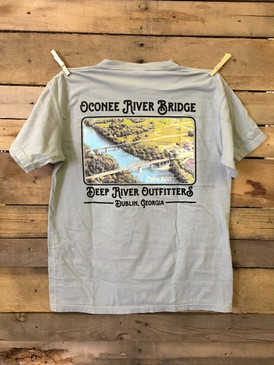 Oconee River Bridge in Dublin, Georgia short sleeve pocket tee in Comfort Color Bay.