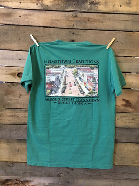 Hometown Traditions Jackson Street Downtown Dublin, Georgia short sleeve pocket tee in Comfort Colors Green.