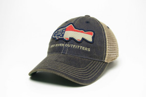 Deep River Georgia Flag Fish on our Legacy Old Favorite Trucker with navy cotton twill front & khaki mesh.
