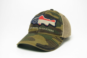 Deep River Georgia Flag Fish on our Legacy Old Favorite Trucker with camo cotton twill front & khaki mesh.