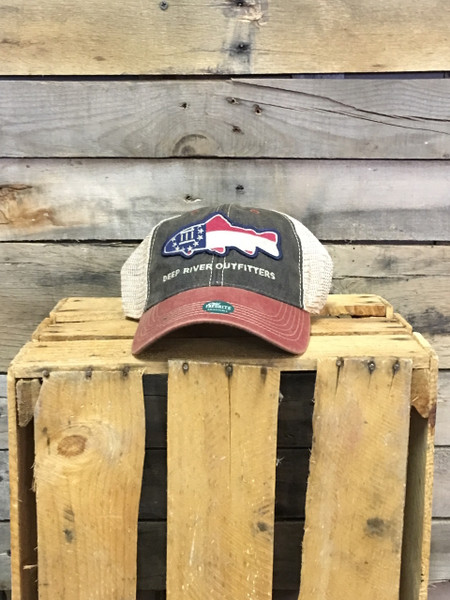 Deep River Georgia Flag Fish on our Legacy Old Favorite Trucker with navy cotton twill front, red accent bill & khaki mesh.