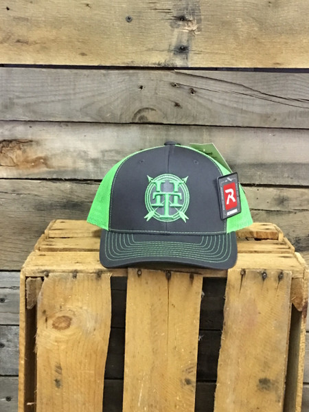 Hometown Traditions 3D Logo on charcoal with neon green mesh Richardson Hat with cotton polyester front panels and visor, with nylon mesh back panels. Snapback provides perfect one size fits most fit.