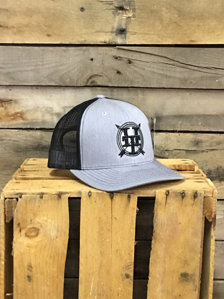 Hometown Traditions Classic Logo on heather grey with black mesh Richardson Hat with cotton polyester front panels and visor, with nylon mesh back panels. Snapback provides perfect one size fits most fit.