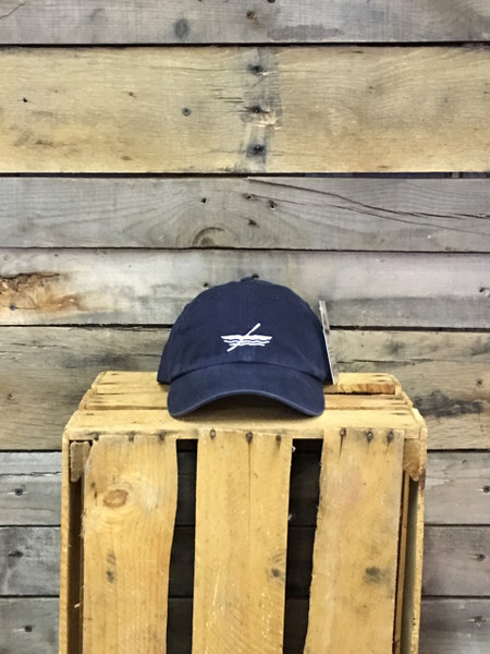 Kayak Deep River Outfitters Logo Navy chino twill Richardson hat with garment washing; relaxed contoured crown shape. Hideaway backstrap with metal comfort buckle provides perfect one size fits most fit.