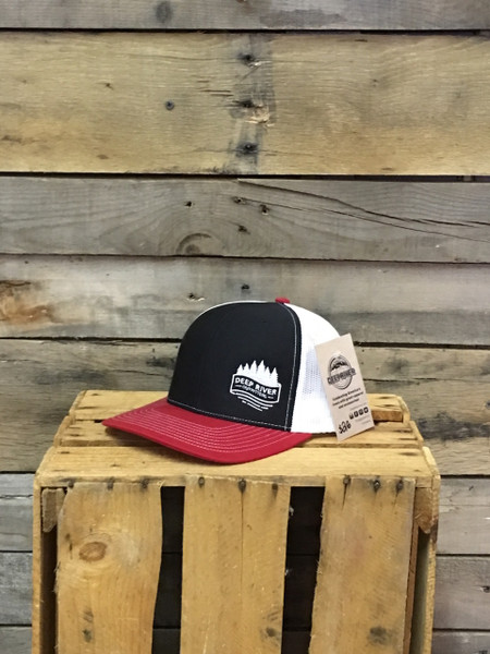 Our NEW Deep River Pines Logo on your favorite Richardson Trucker Hat with cotton polyester front panels and visor, with nylon mesh back panels. Snapback provides perfect one size fits most fit. Available in 6 color options!