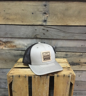 Deep River Leather Square Patch on Khaki with Coffee mesh Richardson Hat with cotton polyester front panels and visor, with nylon mesh back panels.