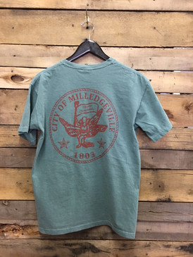 Hometown Traditions Milledgeville City Seal tee on Comfort Colors Light Green is available in short sleeve pocket tee.