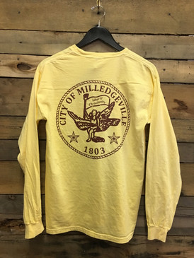 Hometown Traditions Milledgeville City Seal tee on Comfort Colors Butter is available in long sleeve pocket tee.
