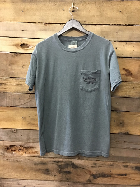 Our Deep River Outfitters Outdoorsman Series: John Muir tee is available in only the most best Comfort Colors short sleeve pocket tee in Blue Spruce.
