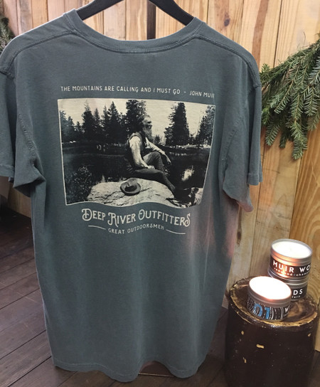 Our Deep River Outfitters Outdoorsman Series: John Muir tee is available in only the most best Comfort Colors short sleeve pocket tee in Blue Spruce & a Sawdust & Embers Muir Woods Travel Tin Candle!