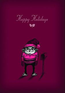 #037a-8  (Box of 8) Happy Holidays/Awkward (Smaller Version)