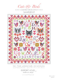 CATS & BIRDS Counted Cross Stitch Kit