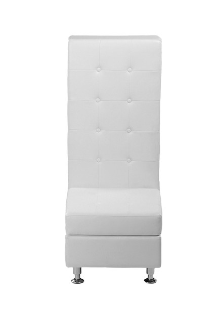 VIP Modular White Leather High Back Armless Chair