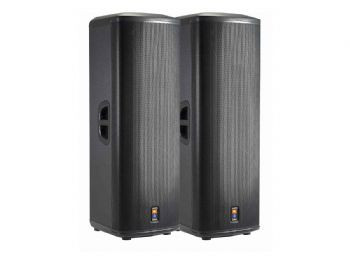 Jbl Prx525 Dual 15in 2 Way Powered Speaker on table and chair rentals las vegas