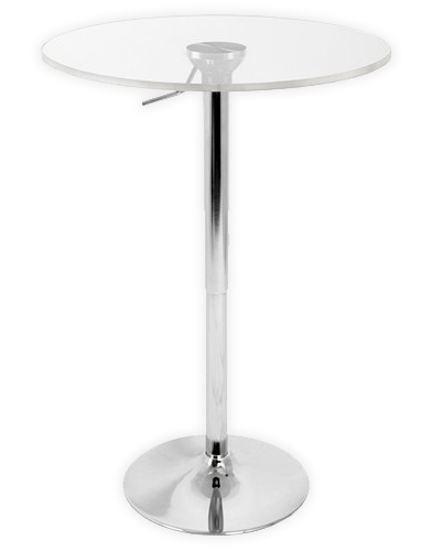 adjustable pedestal bar table with 24 clear acrylic top las vegas tradeshow production. Black Bedroom Furniture Sets. Home Design Ideas