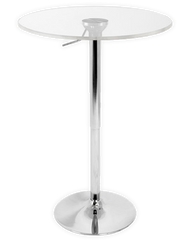 "Adjustable Pedestal Bar Table with Clear Acrylic 24"" Top"