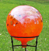 Gazing Ball Circus Orange Iridized