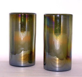 Iridesent Olive 2Pc Hurricane Candle Holder