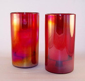 Iridesent Red 2Pc Hurricane Candle Holder