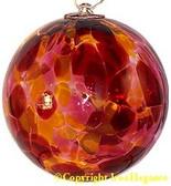 Light Red, Dark Red & Gold 3 Inch Kugel (Marigold)