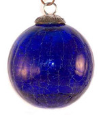 Brass Cap Cobalt Crackle Kugel
