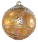 Witch Ball Iridescent Amber
