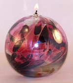 "Kugel Oil Lamp ""Cranberry"""