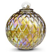 Diamond Optic Friendship Ball, Amber Iridized (4 inch)