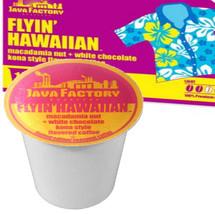 Java Factory Flyin' Hawaiian Coffee Single Cup. Macadamia nut + white chocolate kona style flavored coffee. Compatible with all single serve brewers, including Keurig® not Keurig® 2.0.