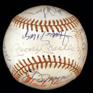 Autographed Baseball. 23 Hall-of-Famers including Mickey Mantle & Joe DiMaggio JSA/COA