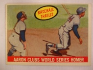1959 Topps #467 Baseball Thrills, Aaron Clubs World Series Homer, EX