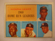 1961 Topps #43 1960 NL Home Run Leaders. Banks, Aaron, Mathews, Boyer EX