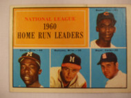 1961 Topps #43 1960 NL Home Run Leaders. Banks, Aaron, Mathews, Boyer VGEX
