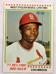 1978 Topps #1 '77 Record Breaker Lou Brock EX